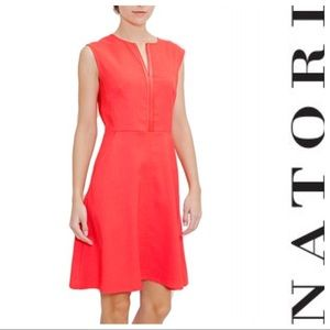 NEW N NATORI A-LINE sleeveless dress coral pockets